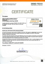 Certificate Oeko-Tex Standard 100 on polyester yarns, textured and flat, white, disperse dyed and master batch pigment coloured